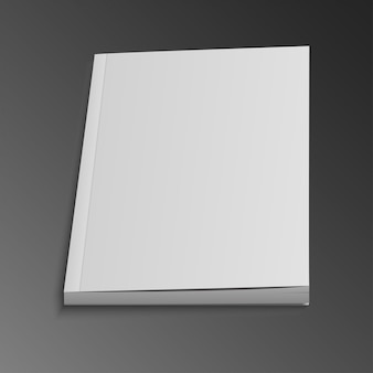 Blank book cover template with pages in front side standing