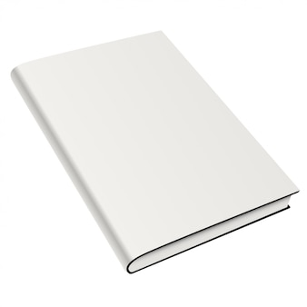 Blank book cover white isolated. vector mock up illustration