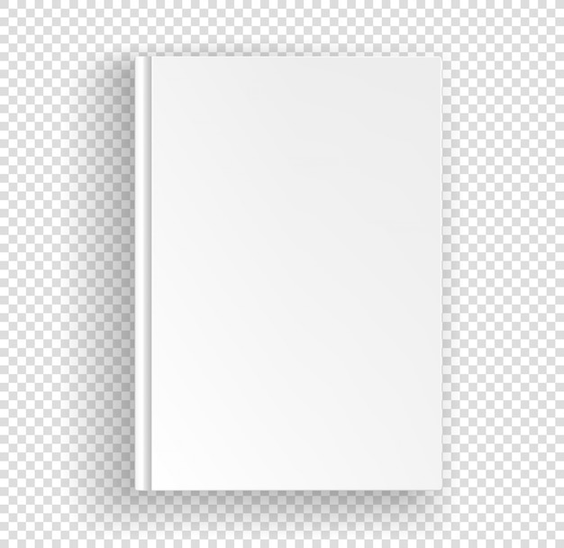 Blank book front view isolated on transparent. closed book top view vector illustration