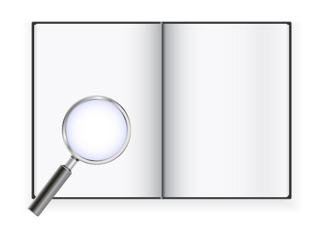 Пустая книга открыта со значком увеличительного стекла
