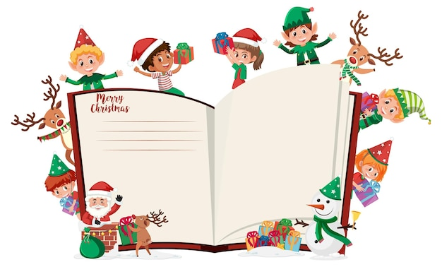 Blank book pages with many kids in christmas theme