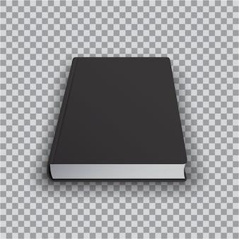 透明な背景、遠近法平面図に黒い表紙の空白の本テンプレート。リアルな本、