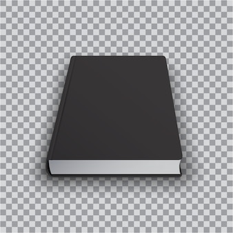 Blank book template with black cover on transparent background, perspective top view. realistic  of books,