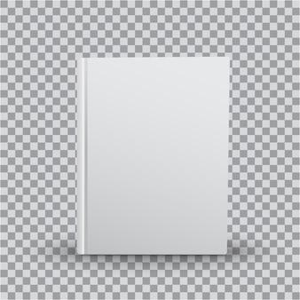 透明な背景、正面に白いカバーの空白の本テンプレート。リアルな本、