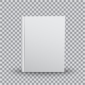 Blank book template with white cover on transparent background, front view. realistic  of books,