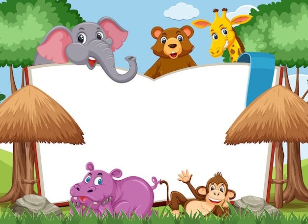 Blank book template with wild animals in the park