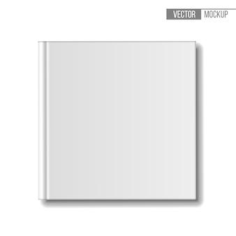Пустая книга, вид сверху. шаблон квадратных книг на белом фоне для вашего и презентации. иллюстрация.