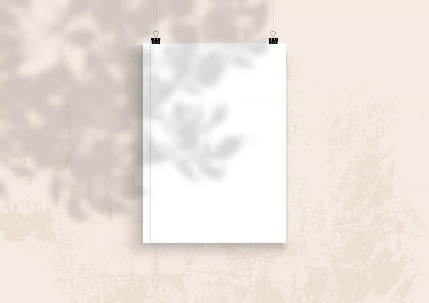 식물 그림자 오버레이 빈 책
