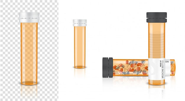 Blank bottle 3d realistic medicine transparent amber packaging for capsule and vitamin pill. healthy product