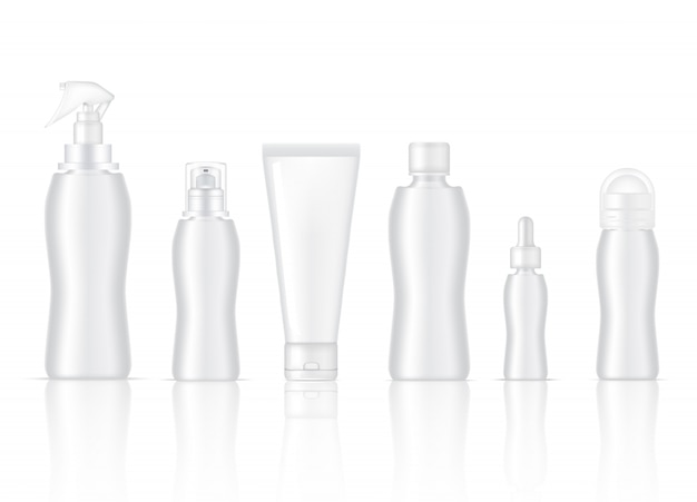 Blank bottle realistic skincare product spray, deodorant, foam soap, dropper serum, pump lotion and cleansing tube packaging
