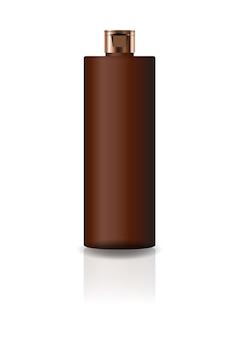 ブランク茶色の化粧品シリンダーボトル、キャップ付き。