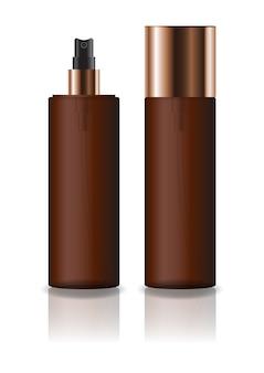 プレススプレーヘッド付きブランク茶色の化粧品シリンダーボトル。