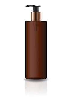 空の茶色の化粧品シリンダーボトル、ポンプヘッド付き。