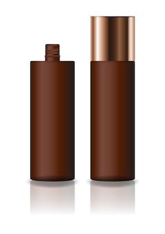 ブランク茶色の化粧品シリンダーボトル、ネジ蓋付き。