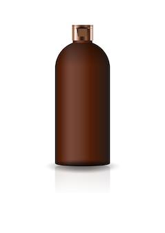 空の茶色の化粧品ラウンドボトル。