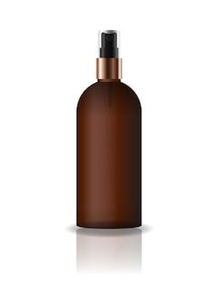 空の茶色の化粧品ラウンドボトル、プレススプレーヘッド付き。