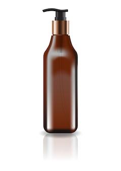 Пустая коричневая косметическая квадратная бутылка с головкой насоса для продукта красоты