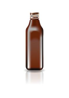 ブランク茶色の化粧品スクエアボトル、スクリューフタ付き。