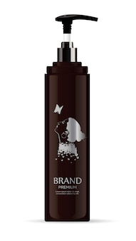 Blank brown cosmetic tube bottle with pump head for beauty or healthy product