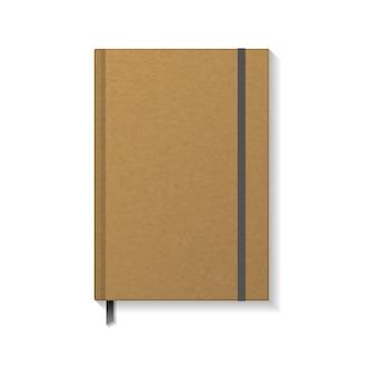 Пустая коричневая книга или блокнот из крафт-бумаги с черной резинкой и шаблоном макета закладки с лентой