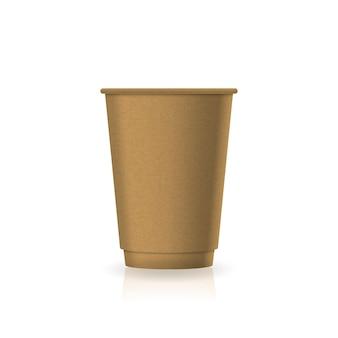 中型のモックアップテンプレートの空白の茶色のクラフト紙コーヒーティーカップ。反射の影と白い背景で隔離。ブランドデザインにすぐに使用できます。ベクトルイラスト。
