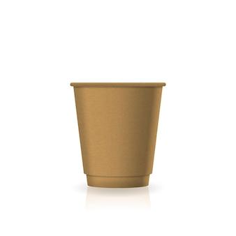 小さなサイズのモックアップテンプレートの空白の茶色のクラフト紙コーヒーティーカップ。反射の影と白い背景で隔離。ブランドデザインにすぐに使用できます。ベクトルイラスト。