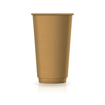 Blank brown kraft paper coffee-tea cup in large size mockup template. isolated on white background with reflection shadow. ready to use for brand design. vector illustration.