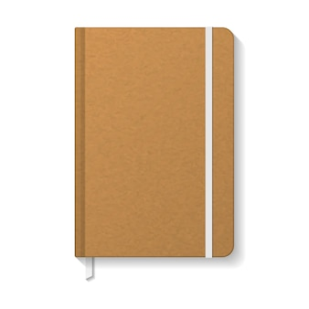 Blank brown kraft paper notebook with white elastic and ribbon bookmark   template.