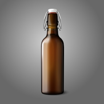 Blank brown realistic retro beer bottle isolated on grey background