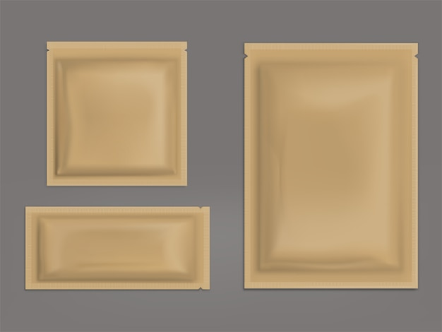 Blank brown sealed sachets realistic vector set