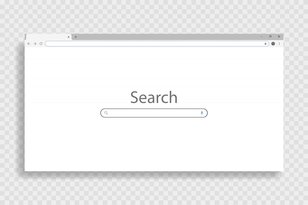 Blank browser window on pc, on transparent background. windows webpage with a blank layout.  illustration