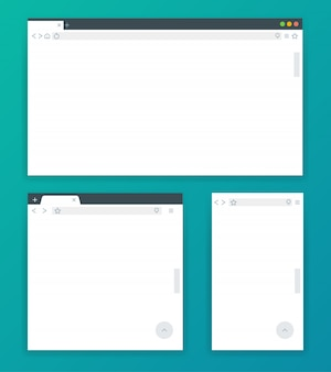 Blank browser windows for different devices of computer, tablet, and phone.