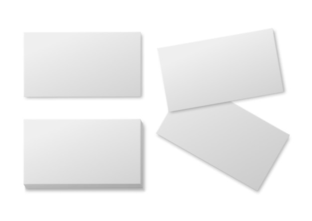 Blank business card. empty white paper cards, pile of cardboard card for brand presentation realistic vector horizontal mockup