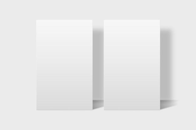 正面図と背面図の白いトーンの空白の名刺モックアップ 無料ベクター