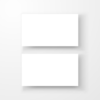 Blank business card with shadow template top view.