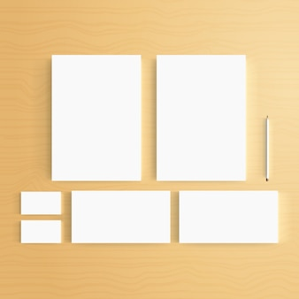 Blank Business identity template on wood