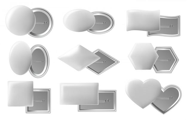 空白のボタンのバッジ。現実的なピンボタン、白いプラスチックまたは金属ピン、ピン留めされた背面図、光沢のあるピンバッジ。バッジプラスチックサークル、フレーム空白の光沢のあるイラスト