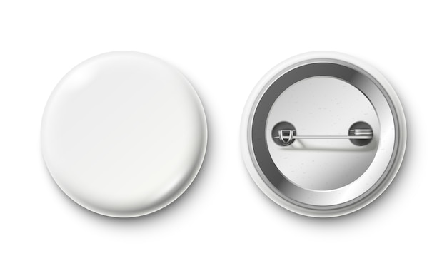 Blank button badge. white pinback badges, pin button and pinned back realistic isolated