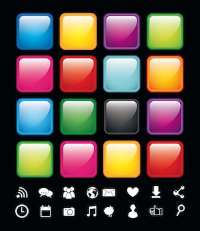 Blank buttons with icons app store vector illustration