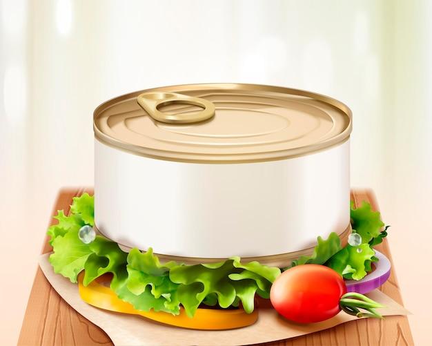 おいしい野菜、3dイラストとまな板の空白の缶モックアップ