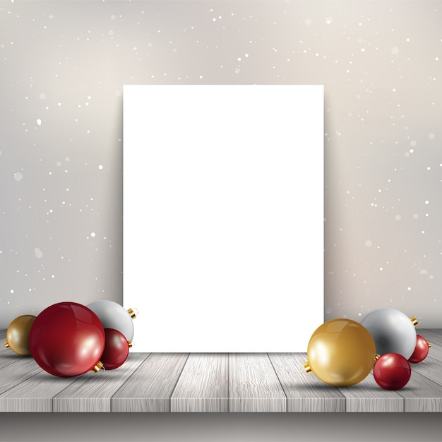 Free Blank Canvas On Wooden Table With Christmas Baubles Svg Dxf Eps Png Cut Files Background Download