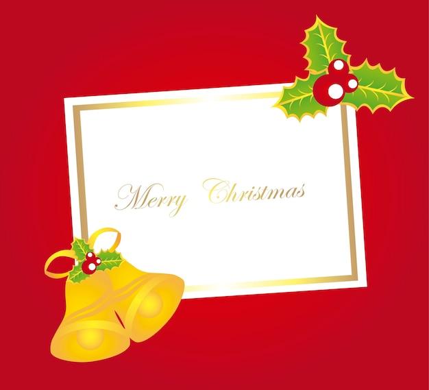 빨간색 배경 벡터에 종소리와 함께 빈 카드 크리스마스