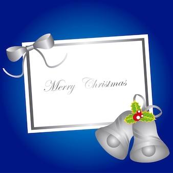 파란색 배경 벡터 위에 종소리와 함께 빈 카드 크리스마스