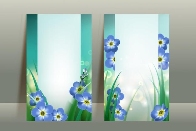 春の花と空白のカードテンプレート