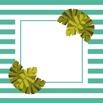 Blank card for text palm leaves tropical and stripes background