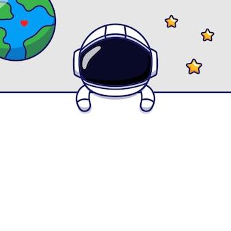 Пустая карточка с милым космонавтом
