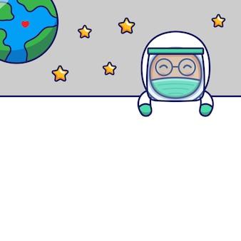かわいい宇宙飛行士と空白のカード