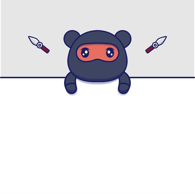 かわいい忍者クマと空白のカード