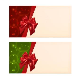 Copyspace와 빨간 리본 빈 카드입니다. 벡터 일러스트 레이 션