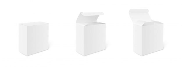 空白の段ボールパッケージボックスのモックアップ。閉じたボックスと開いたボックス。ボックスセット。 3つのテンプレート、デザインまたはブランディングのための影付きの異なる位置にあるボックスのレイアウト